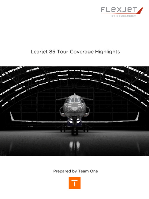Learjet 85 Tour Coverage Highlights