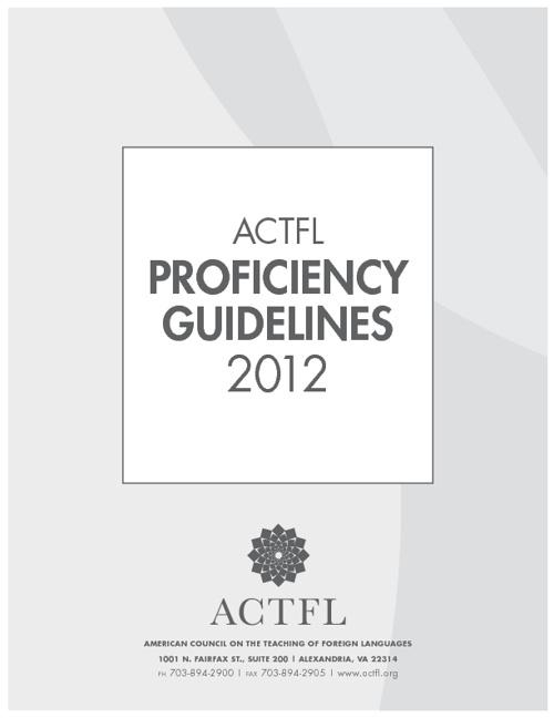 ACTFL Proficiency Guidelines 2012