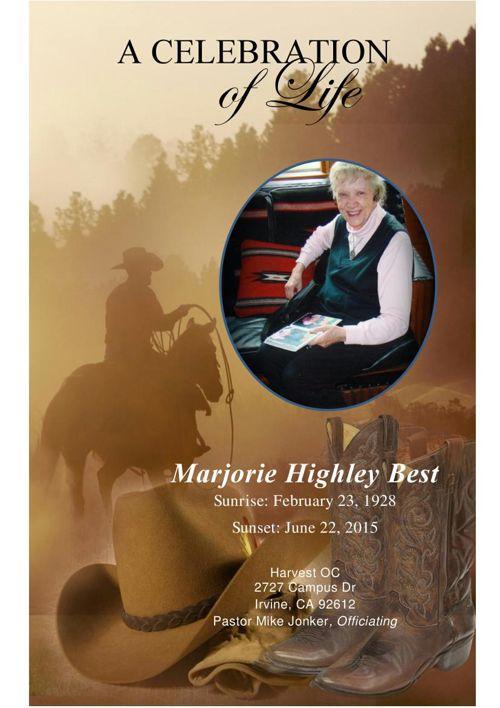 Marjorie Highley Best Funeral Program