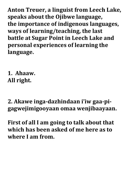 Anton on how he learned Ojibwe