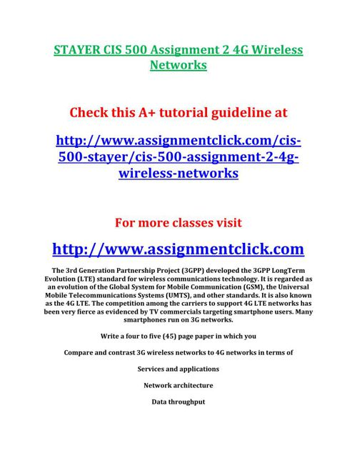STAYER CIS 500 Assignment 2 4G Wireless Networks