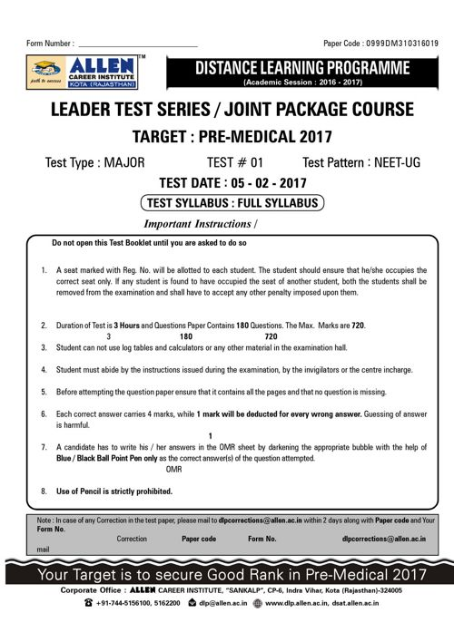 MAJOR TEST-AIPMT-ML-01_Paper_492