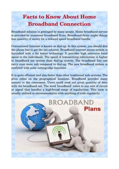 Facts to Know About Home Broadband Connection