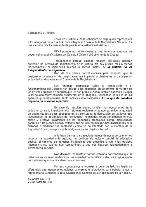 Carta AABA - Asociación de Abogados de Buenos Aires