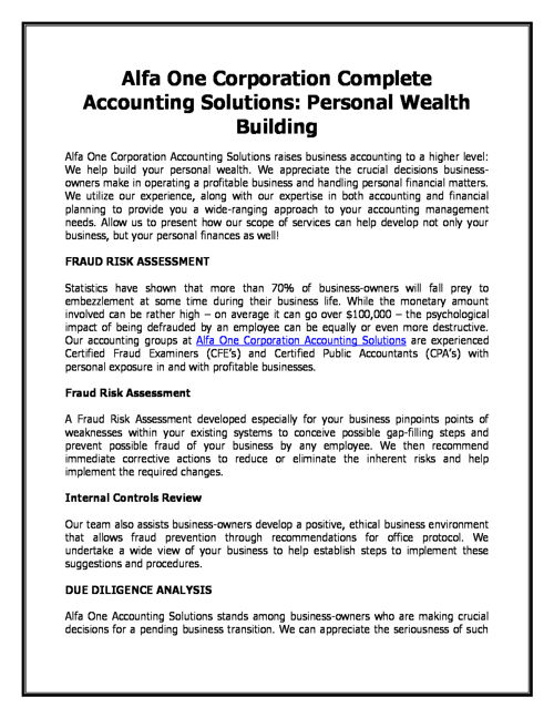 Alfa One Corporation Complete Accounting Solutions: Personal Wea