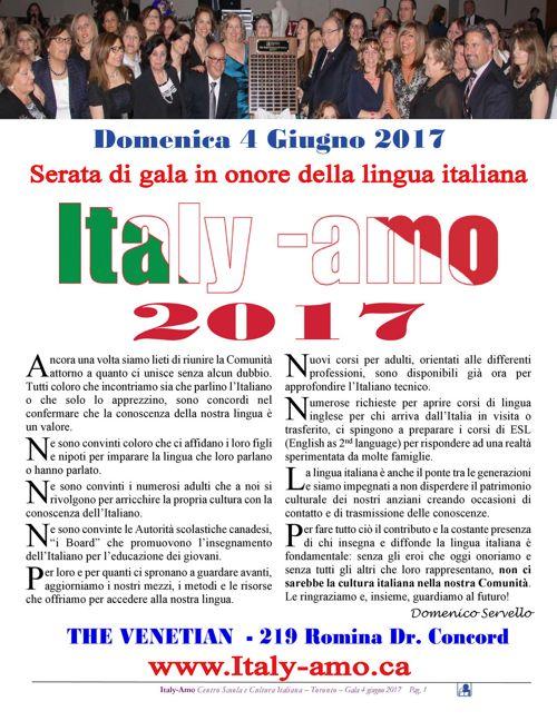 Italy-Amo 2017 -Serata di gala del Centro Scuola Toronto