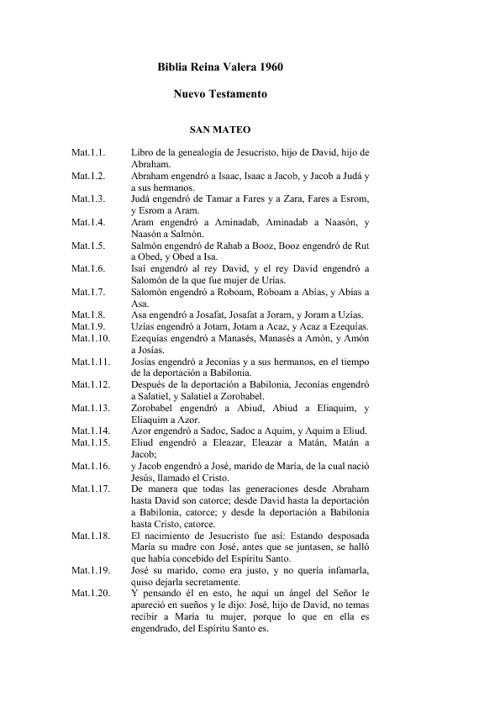 Biblia Reina Valera 1960 nuevo testamento