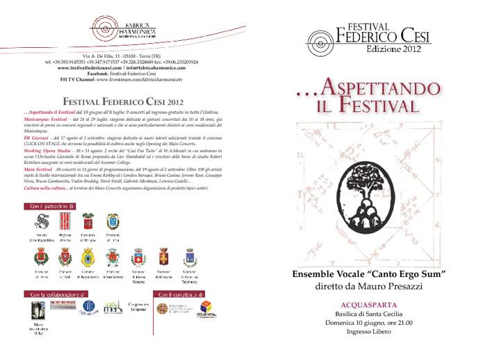 """programma di sala """"CANTO ERGO SUM"""" 10GIU2012"""