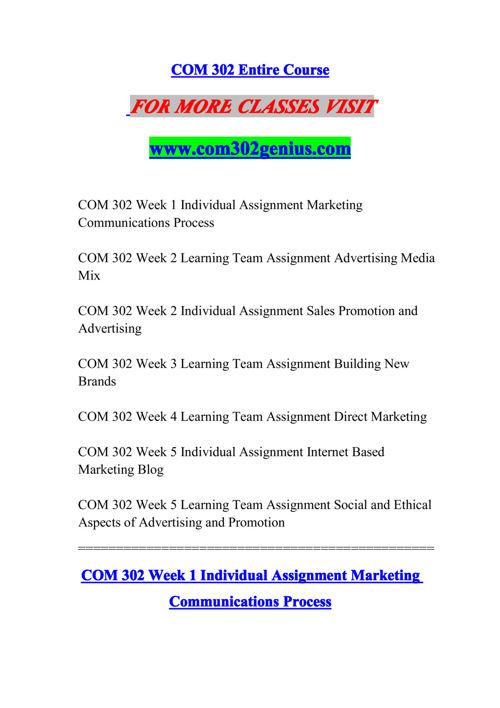 COM 302 GENIUS Experience Tradition/com302genius.com