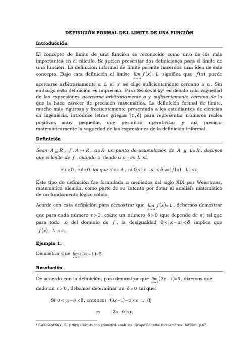 Demostraciones de límites usando definición formal