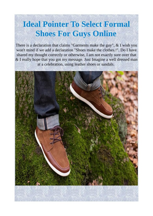 Ideal Pointer To Select Formal Shoes For Guys Online
