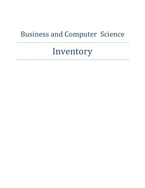 Business and Computer Science Inventory