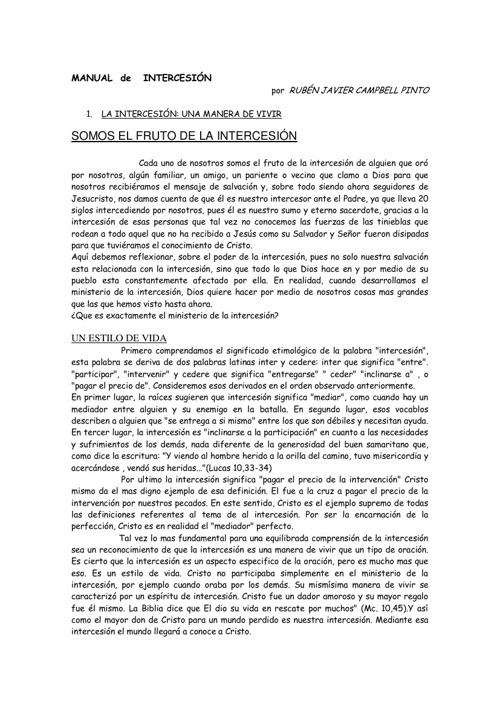 MANUAL  de   INTERCESIÓN  por  RUBÉN JAVIER CAMPBELL PINTO