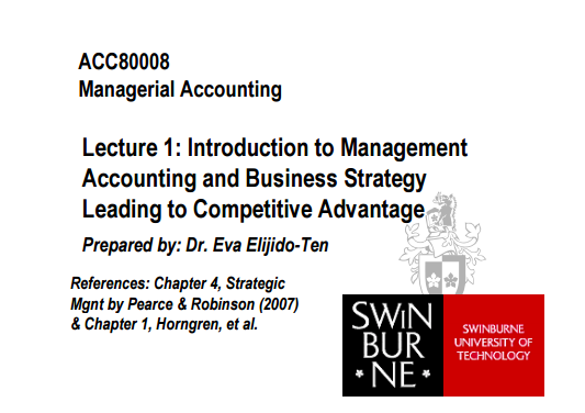 ACC80008 - Topic 1: Introduction to Management Accountin