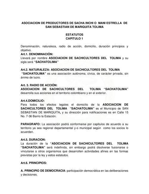 Estatutos ASOCIACION DE PRODUCTORES DE MANI ESTRELLA MARIQUITA (