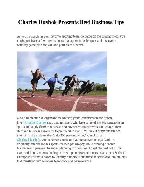 Charles Dushek Presents Best Business Tips