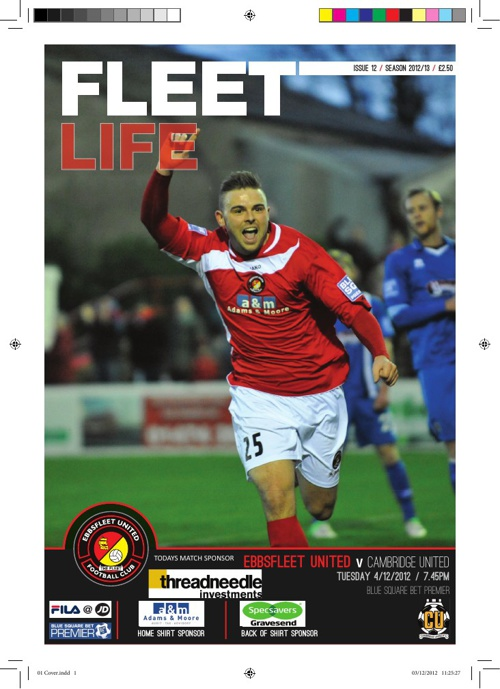 Example Programme - Ebbsfleet Utd vs Cambridge 4-12-12
