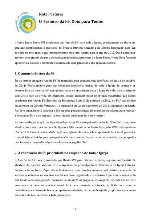 Nota Pastoral - Dom António Marto