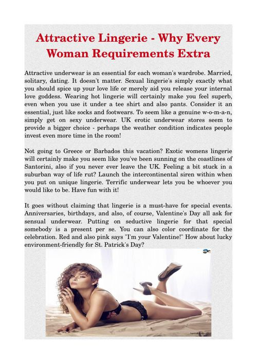 Attractive Lingerie - Why Every Woman Requirements Extra