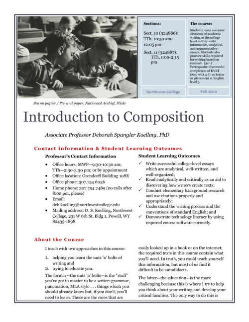 ENGL 1010 (10)(11) English I: Introduction to Composition, F2012