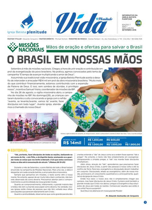 EDIÇÃO 07 - SETEMBRO 2016 - JORNAL VIDA NA PLENITUDE