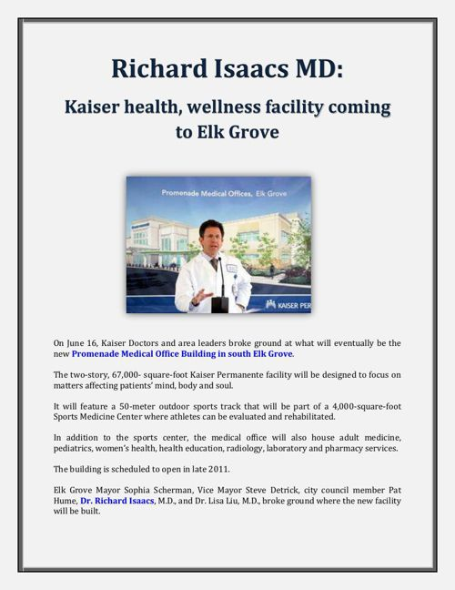 Kaiser health, wellness facility coming to Elk Grove - Richard I