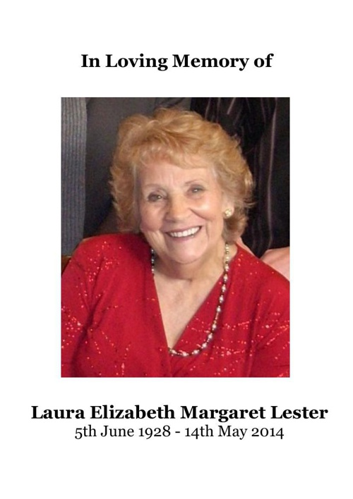 4 Order of Service for Laura Lester