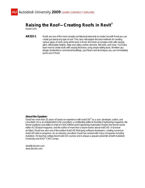 AB322-1 - Raising the Roof-Creating Roofs in Revit