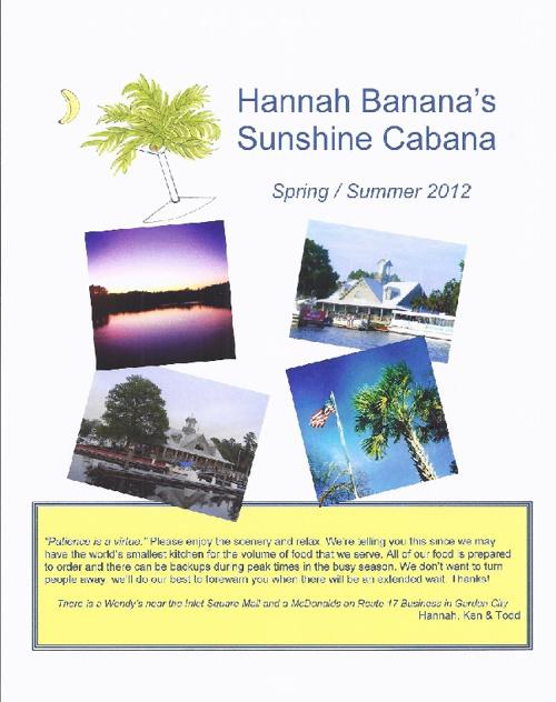 Hannah's 2012 Spring/Summer Menu