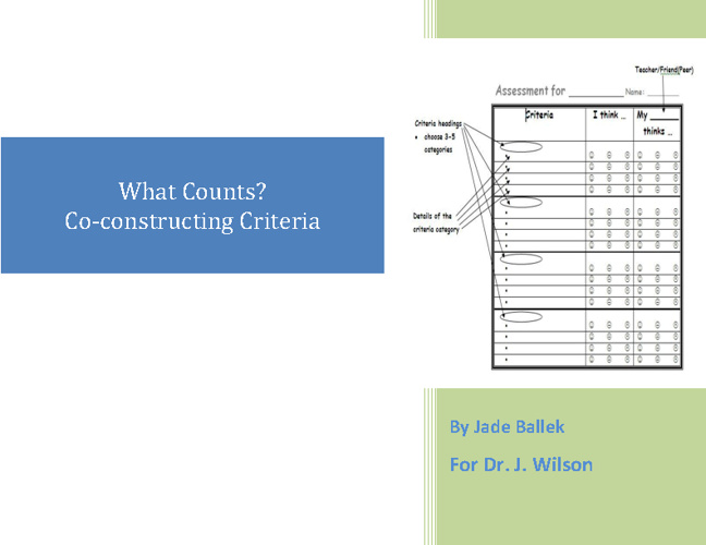 What Counts? Co-constructing Criteria (script)