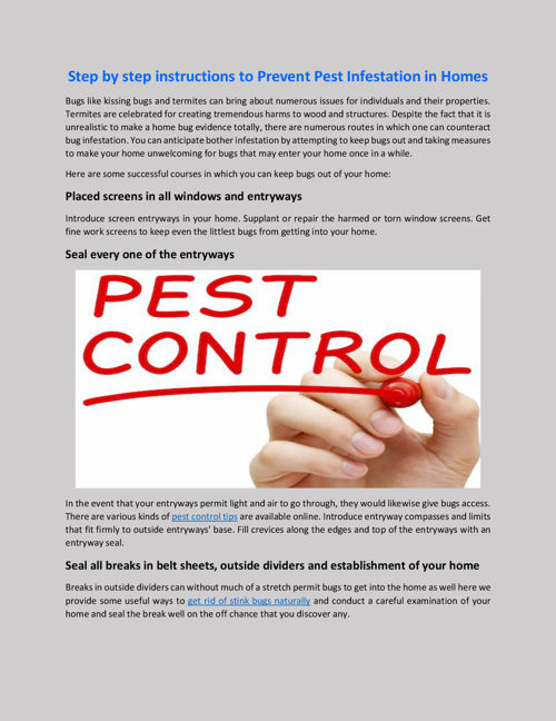 Step by step instructions to Prevent Pest Infestation in Homes