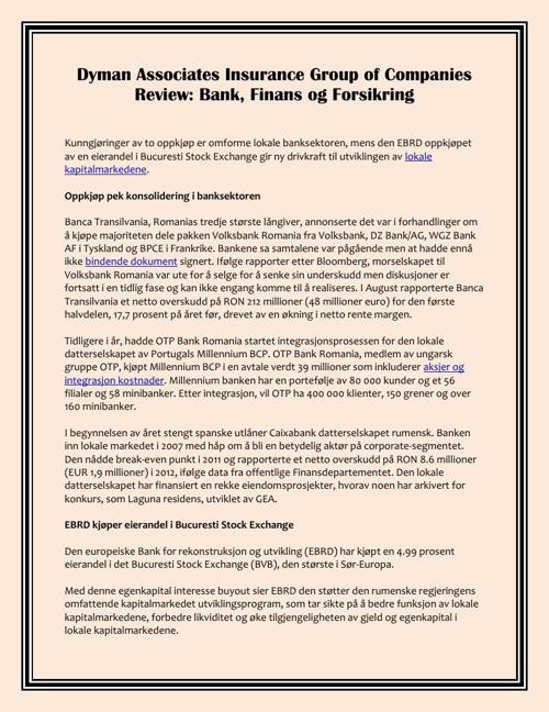 Dyman Associates Insurance Group of Companies Review: Bank, Fina