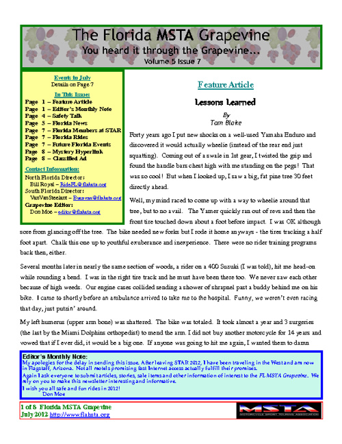July 2012 Florida MSTA Newsletter