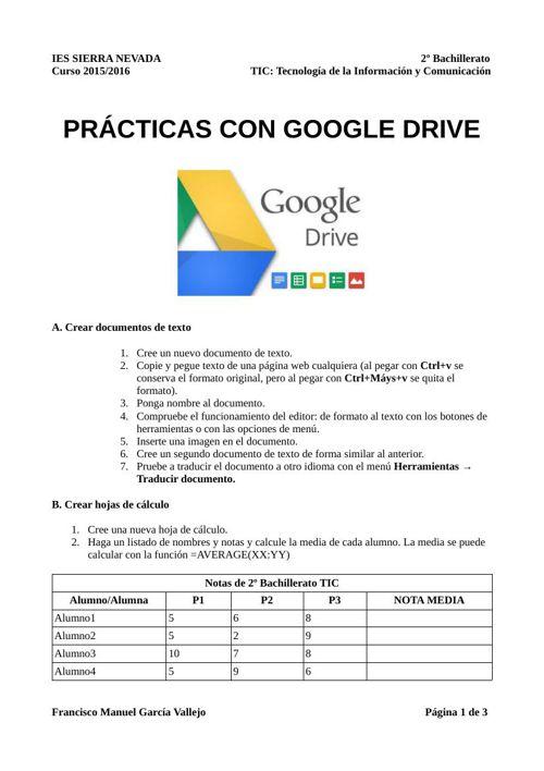 Practicas con Google Drive