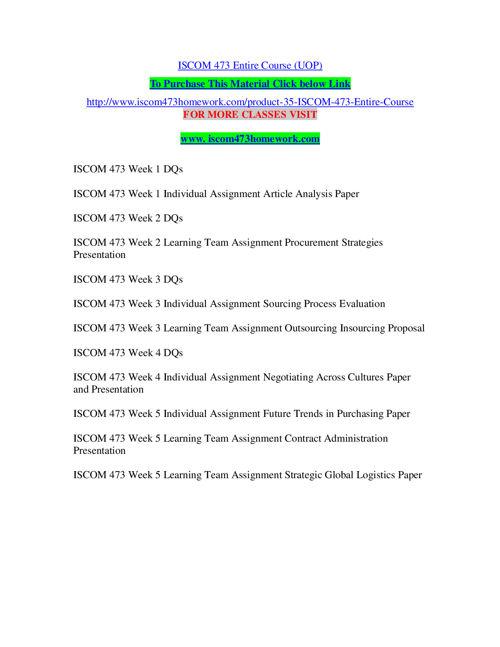 ISCOM 473 HOMEWORK Learn by Doing/iscom473homework.com