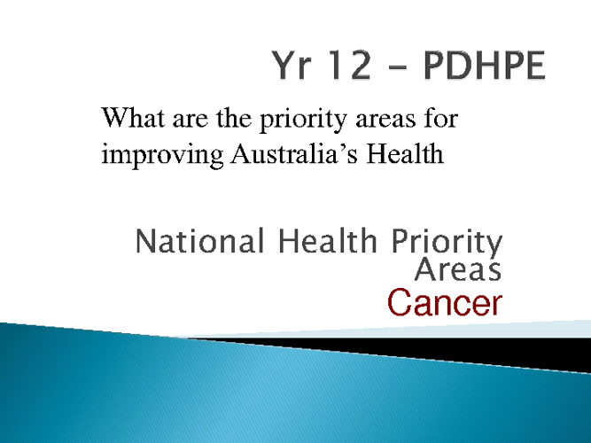 Health Priority Areas - Cancer