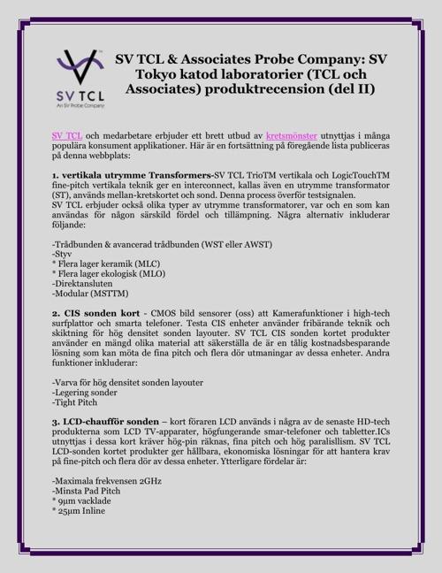 SV TCL & Associates Probe Company: SV Tokyo katod laboratorier (