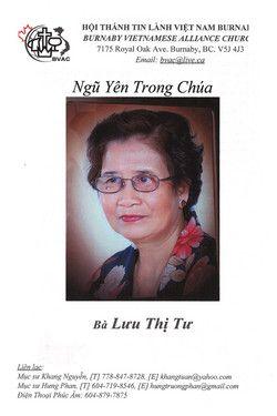Funeral Service Program for Ba Luu Thi Tu
