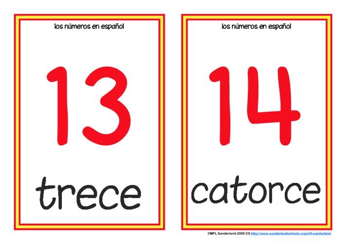Spanish numbers 13-20