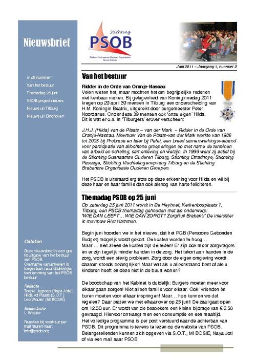 PSOB Nieuwsbrief jaargang 1 nummer 2 - juni 2011