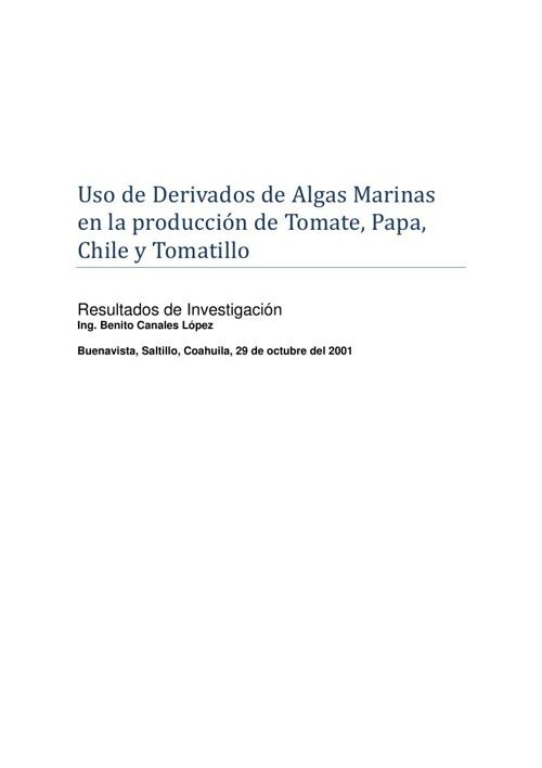Uso de Derivados de Algas Marinas en la producción de Tomate