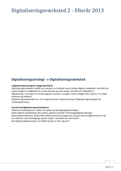 Digitaliseringsværksted II