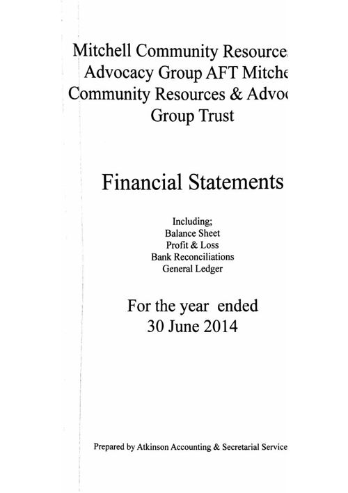 MCRAG Financial Statements end 30 June 2014