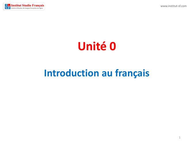 Unité 0 - premiers jours - ISF Livre