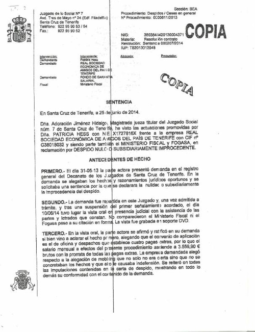 SENTENCIA REAL SOCIEDAD DE AMIGOS DEL PAÍS