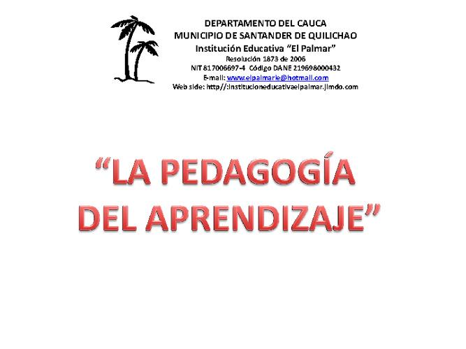 """Pedagogía del Aprendizaje. Institución Educativa el """"PALMAR"""""""