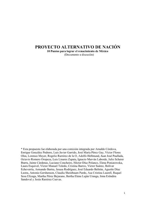 AMLO - Proyecto Alternativo de Nación