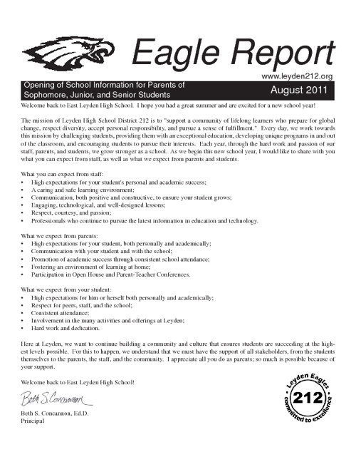East Leyden Eagle Report - August 2011