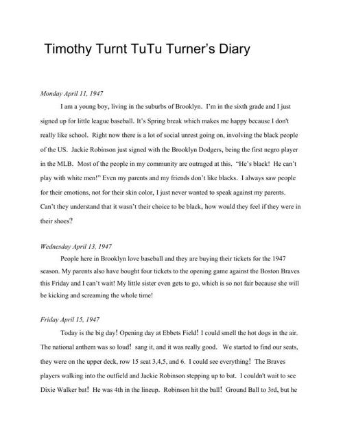Timothy Turnt Tutu Turner's Diary
