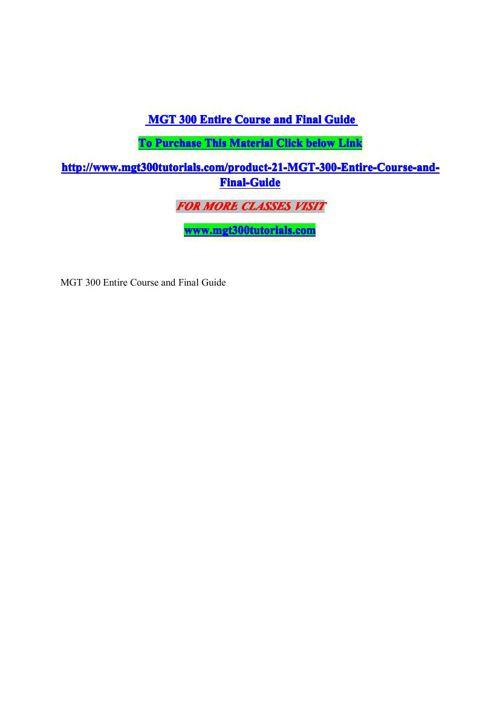 mgt 300 business plan case study
